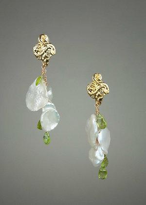 Keshi Pearl and Peridot Earrings