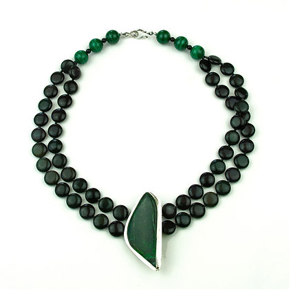 Rainbow Obsidian and Jade Necklace