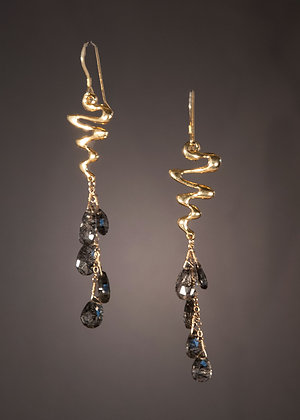 Black Rudillated Quartz Earrings