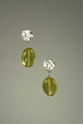 Green Amber and Sterling Silver Earrings