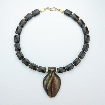 Smokey Quartz and Polymer Clay Necklace
