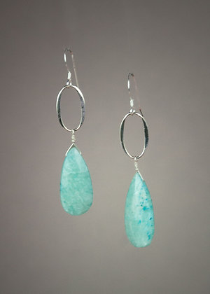 Amazonite and Sterling Earrings