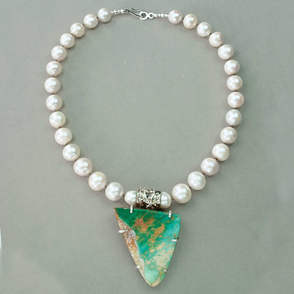 Royston Turquoise and Akoya Pearl Necklace