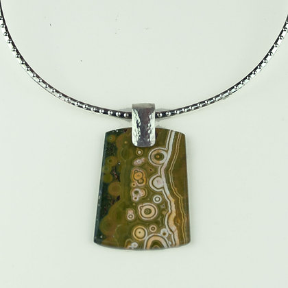 Ocean Jasper Pendant with Silverplate Collar