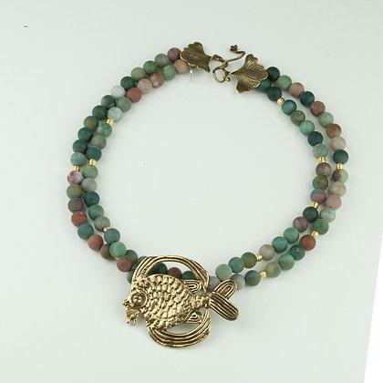 Jasper and Vintage Brooch Necklace