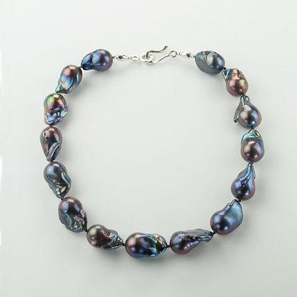 Blue Baroque Pearl Necklace