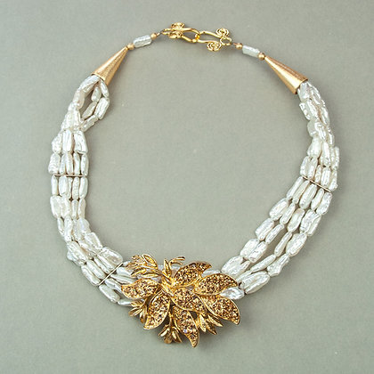 Pearl and Vintage Brooch Necklace