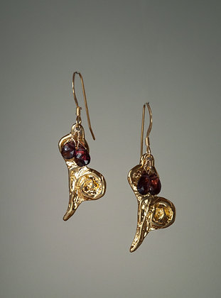 Garnets with Hand Cast 18kt Gold Vermeil Hearts