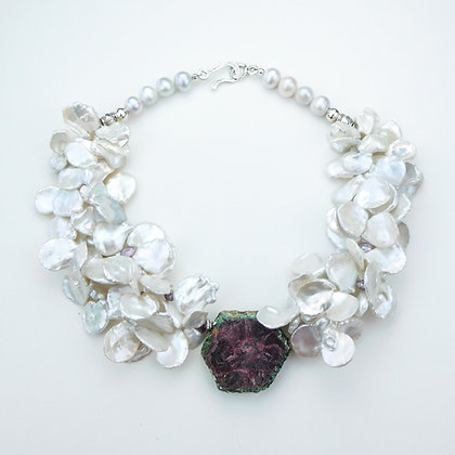 Ruby and Keshi Pearl Necklace
