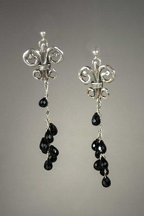 Black Spinel Briolette Cascade Earrings