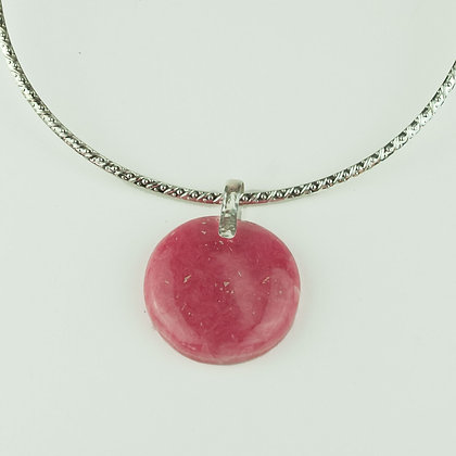 Natural Rhodocrosite Pendant with Silverplate Collar