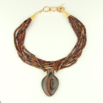 Tiger's Eye and Polymer Clay Necklace
