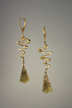 Banded Fluorite and 18kt Gold Vermeil Earrings