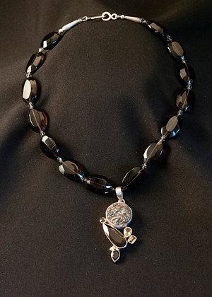 W1156481 Smokey Quartz and Astrophylite Necklace