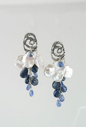 Keshi Pearls and Tanzanite Earrings
