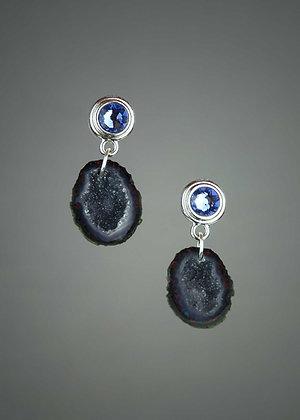 Geode and Swarovski Crystal Earrings
