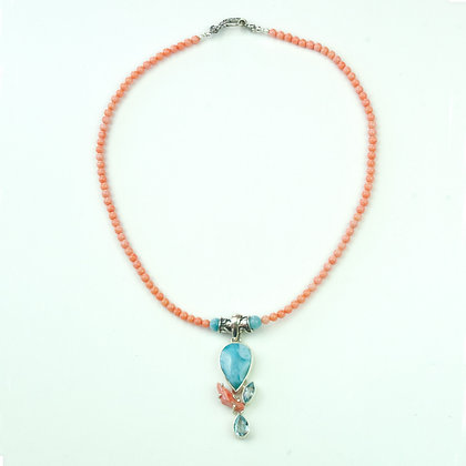 Larimar and Coral Necklace