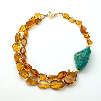 Amber and Chrysocholla Necklace