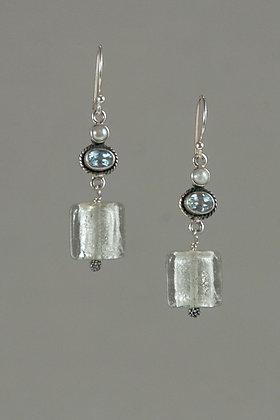 Blue Topaz, Pearl and Glass Earrings