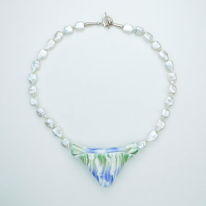 Freshwater Pearl Necklace with Handpainted Pendant