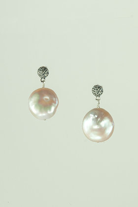 Coin Pear and Sterling Silver Earrings