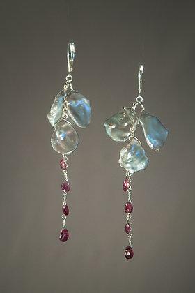 Keshi Pearl and Pink Sapphire Earrings