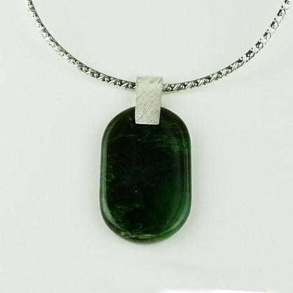 Jade Pendant with Silverplate Collar