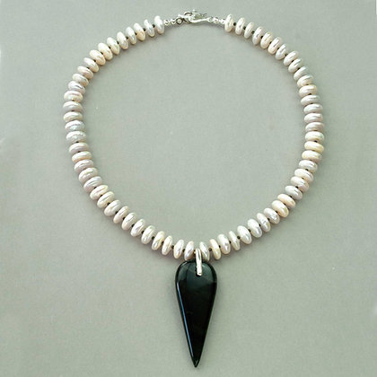 Obsidian and Pearl Necklace