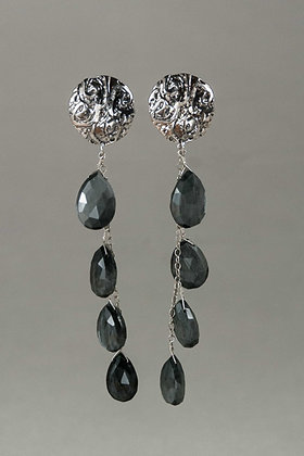 Obsidian and Handcast Sterling Silver Earrings