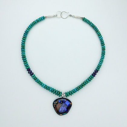 Turquoise Necklace and Dichroic Glass