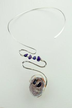Amethyst Geode Silverplate Swirl Collar