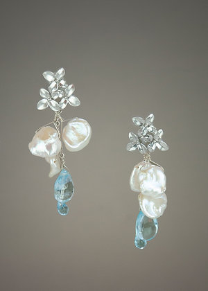 Keshi Pearl and Blue Topaz Earrings