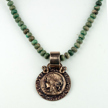 Chrysocholla and Handmade Bronze Necklace