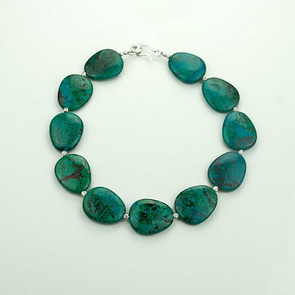 Chrysocholla and Sterling Necklace