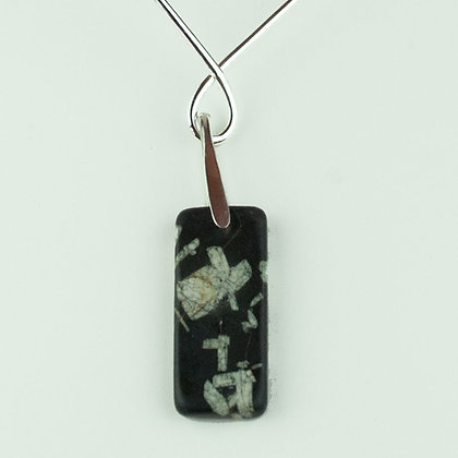 Chinese Writing Stone Pendant and Collar