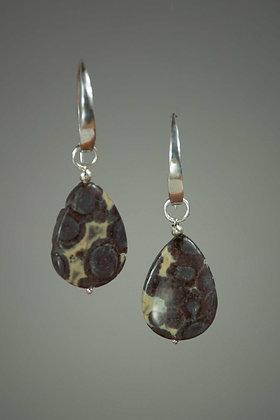 Orbicular Jasper and Sterling Silver Earrings