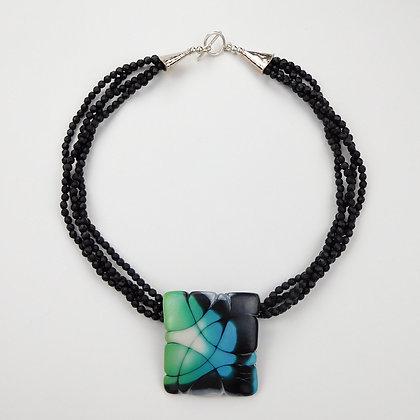 Handpainted Pendant with Black Onyx