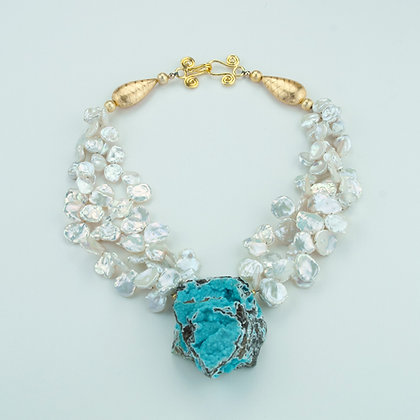 Hemimorphite and Keshi Pearl Necklace