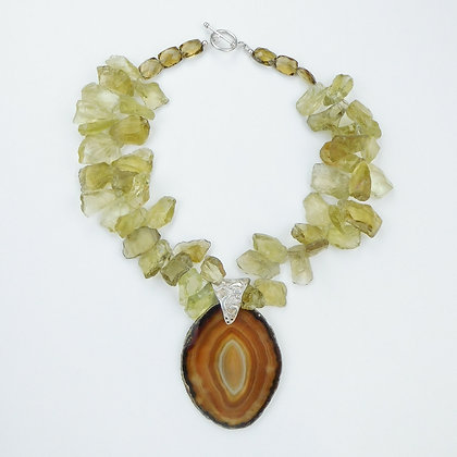 Yellow Quartz and Agate Pendant