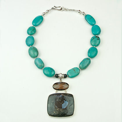 Turquoise and Fossil Necklace