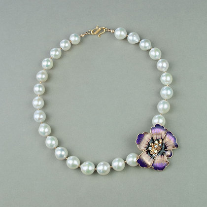 Cultured Pearl and Vintage Brooch Necklace