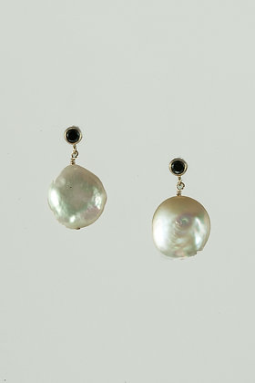 Coin Pearl and CZ Earrings