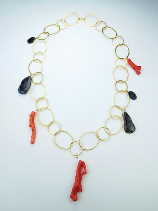 Coral and Agate Chain Necklace