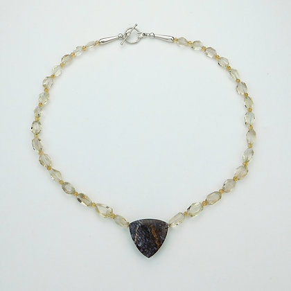 Fossilized Dinosaur and Sunstone Necklace