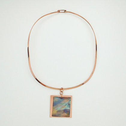 Copper Collar with Flame Painted Pendant