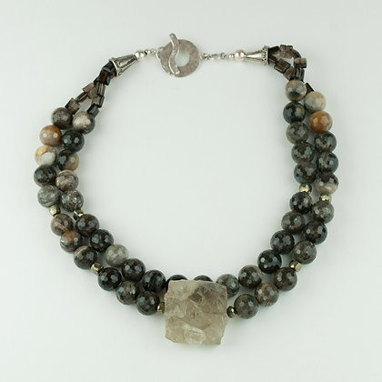 Petrified Wood and Smokey Quartz Necklace