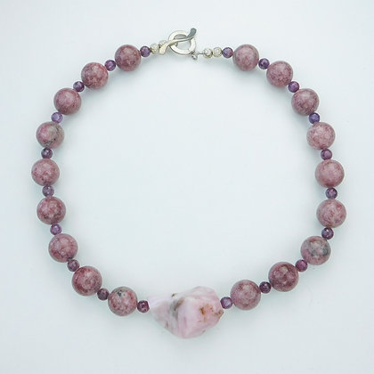 Rhodinite and Pink Opal Necklace