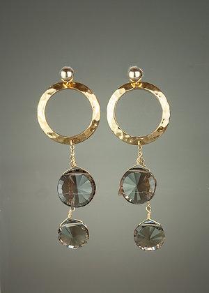 Smokey Quartz and Bronze Earrings