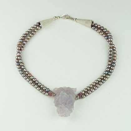 Amethyst Crystal and Pearl Necklace
