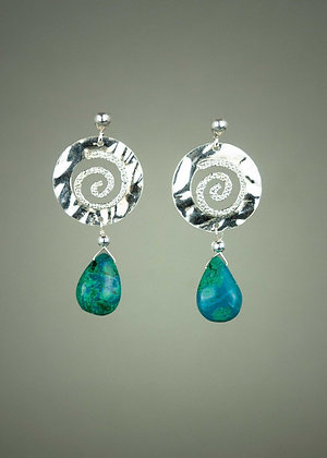 Chrysocholla and Sterling Earrings